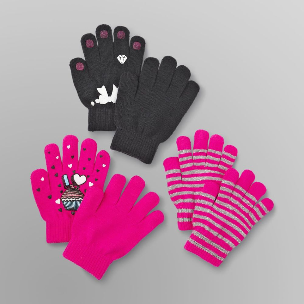 Canyon River Blues 3 Pack Girl's Stretch Gloves - Bow, Cupcake & Stripes Multi-color