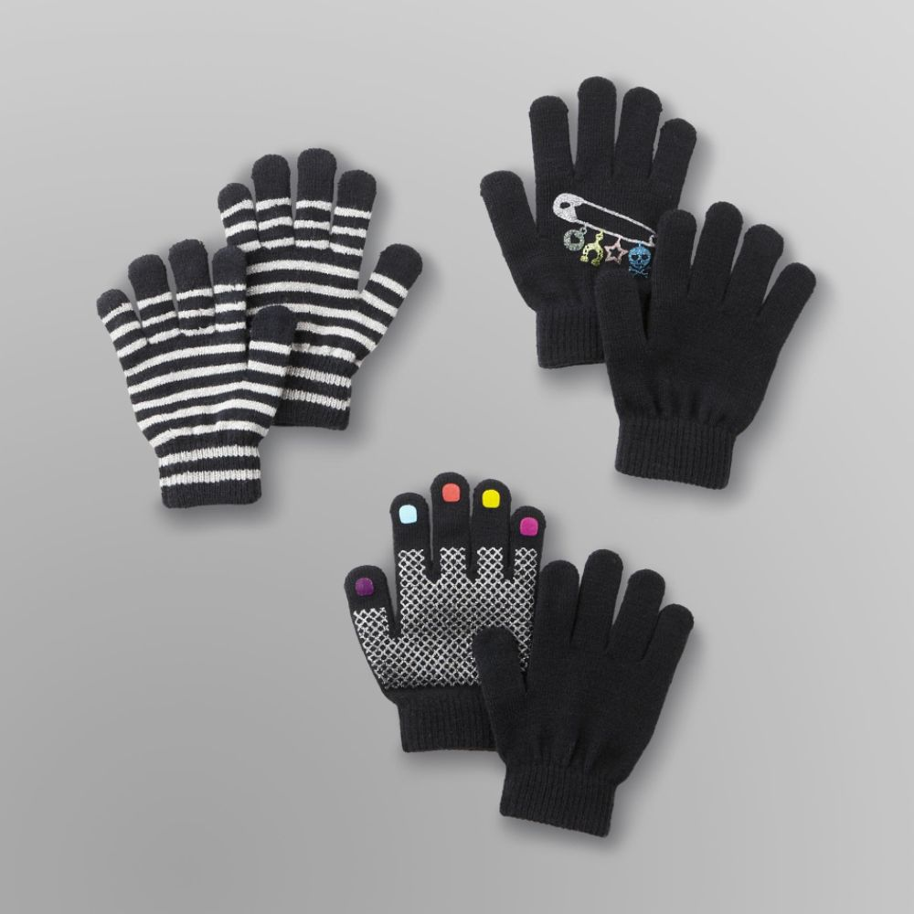 Canyon River Blues Girl's Knit Gloves- 3-Pack Black