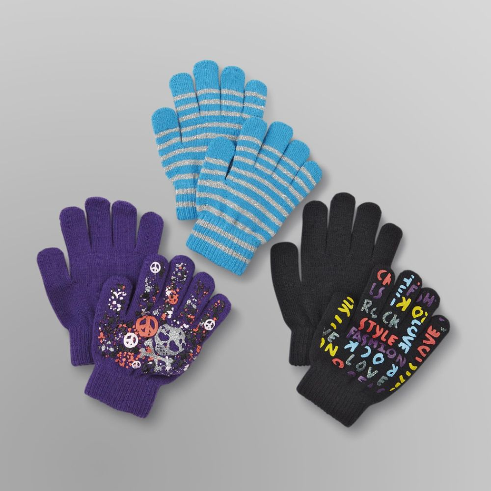 Canyon River Blues 3 Pack Girl's Stretch Gloves - Skull, Rock & Stripes Multi-color
