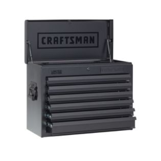 Craftsman  26 in Wide 6 Drawer Heavy Duty Top Chest, Flat Black