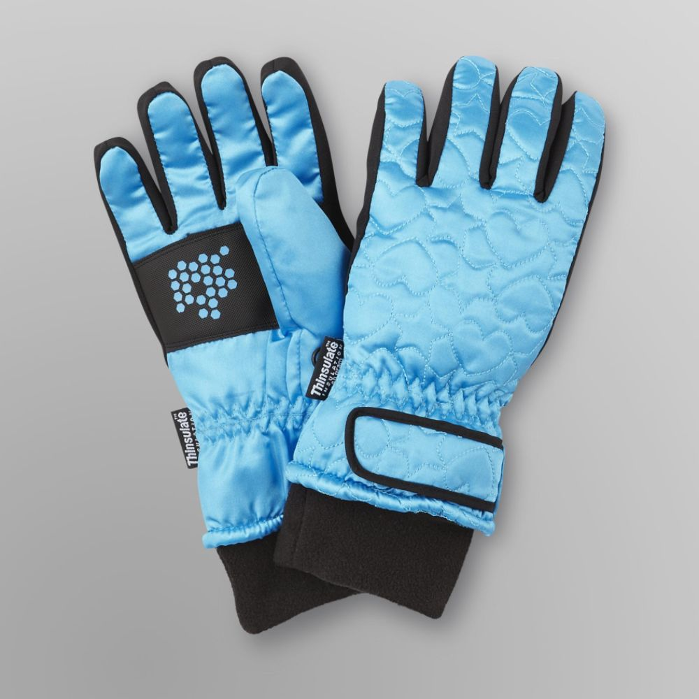 Canyon River Blues Girl's Quilted Ski Gloves Blue Jewel