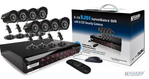 KGUARD Security KGUARD 8CH Surveillance DVR + 8 CCD Security Cameras with 500GB HDD - CA108-H03-500G