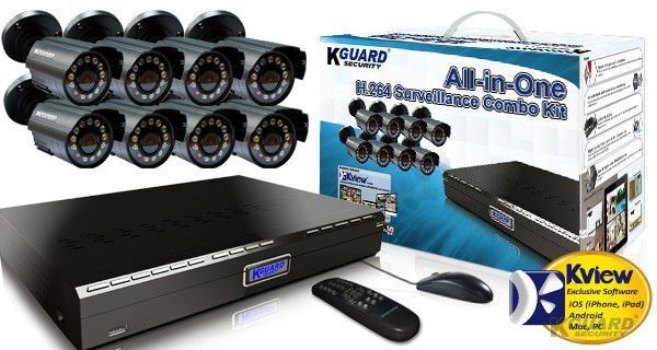 KGUARD Security KGUARD 8CH Surveillance DVR + 8 CMOS Security Cameras with 500GB HDD - BR801-8CW154M-500G