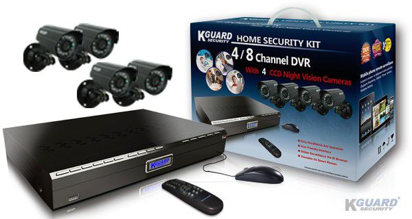 KGUARD Security KGUARD 8CH Surveillance DVR + 4 CCD Security Cameras with 500GB HDD - CA24-H02-500G