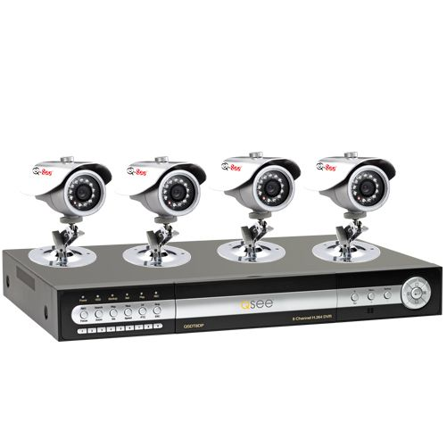 Q-See Q- See QT8DP-481-3 8 Channel Security DVR with 4 CCD Cameras and Pre-installed 320GB Hard Drive