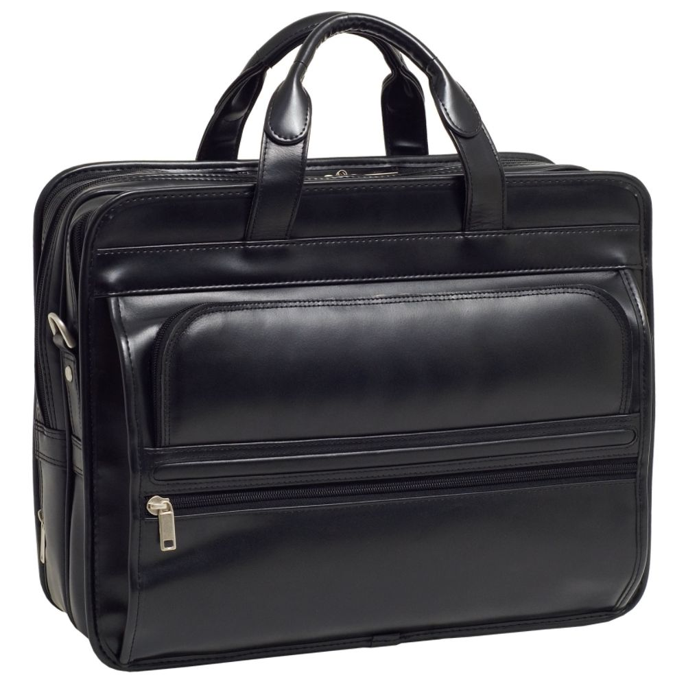 McKleinUSA ELSTON 86485 Black Leather Double Compartment Laptop Case