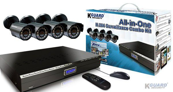 KGUARD Security KGUARD 4CH Surveillance DVR + 4 CMOS Security Cameras with 500GB HDD - BR401-4CW154M-500G
