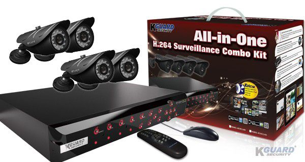 KGUARD Security KGUARD 8CH Surveillance DVR + 4 CCD Security Cameras with 500GB HDD - NS801-4CW214H-500G