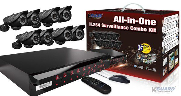 KGUARD Security KGUARD 8CH Surveillance DVR + 8 CCD Security Cameras with 500GB HDD - NS801-8CW214H-500G