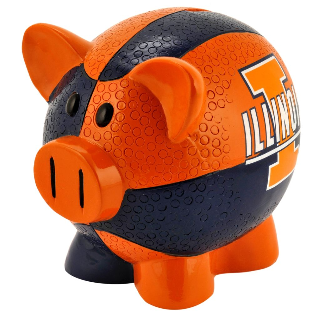 Forever Collectibles NCAA Large Piggy Bank - University of Illinois Fighting Illini