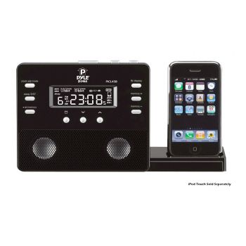 Pyle Enhanced iPod/iPhone Alarm Clock Speaker System w/ AM FM Radio and Remote Control (Black)