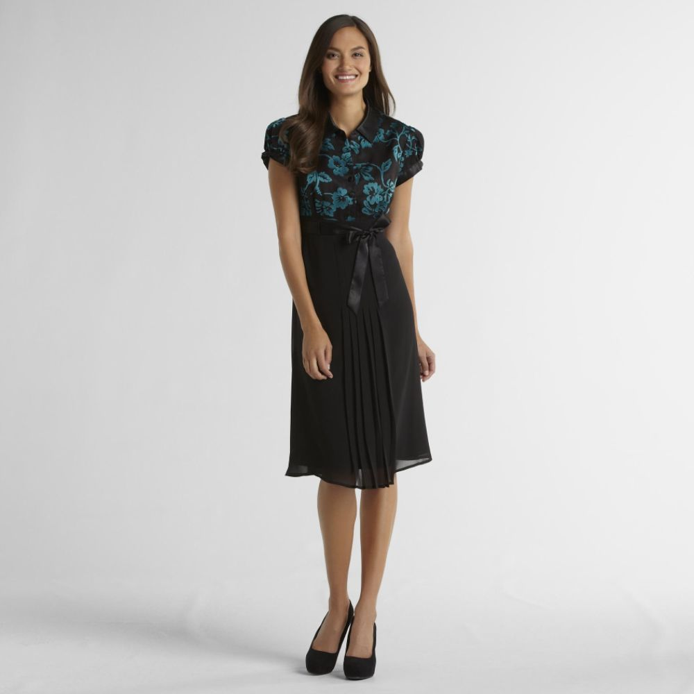 Amanda Lane Women's Shirt Dress - Floral Teal/Black