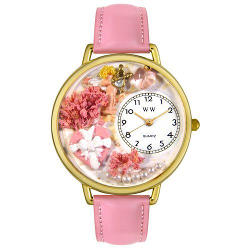 Whimsical Watches Valentine's Day Pink Pink Leather                                     And Goldtone Watch #G1220024