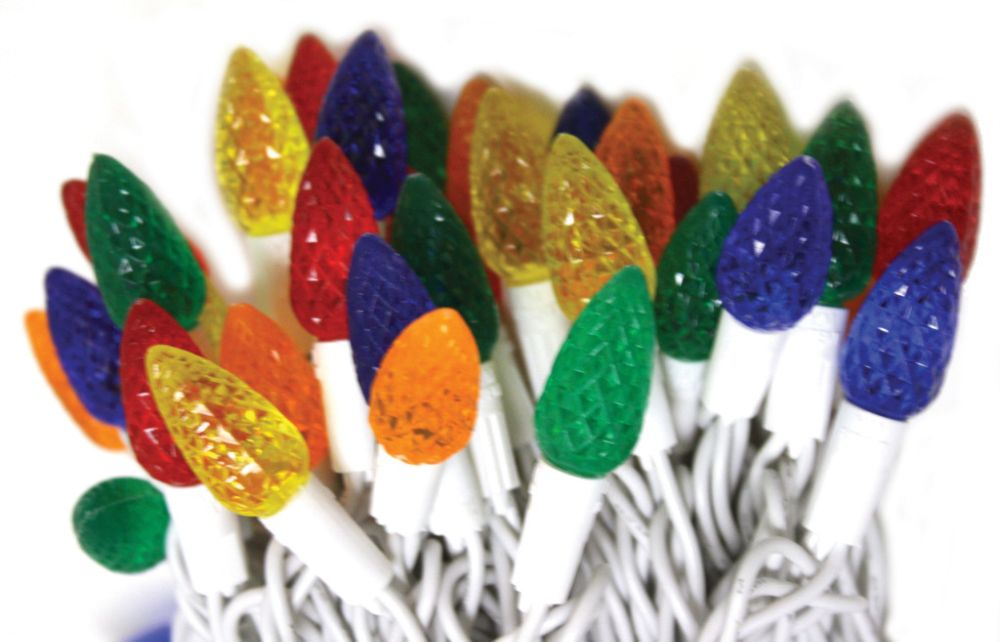 Good Tidings Holiday Light Set - LED C6 70 Diamond                            Cut Multi-Colored Lights on a White Wire