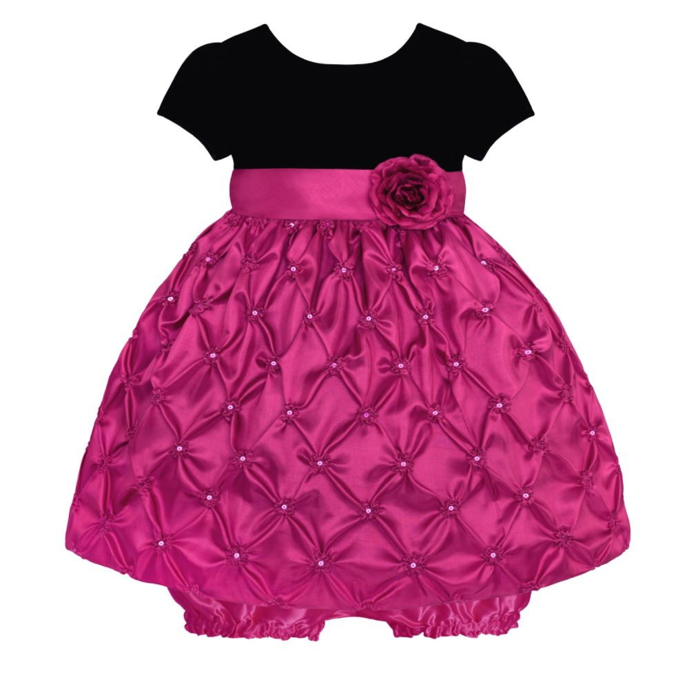 American Princess Infant and Toddler Girl s Dress Black Velvet/Pink Bubble Skirt