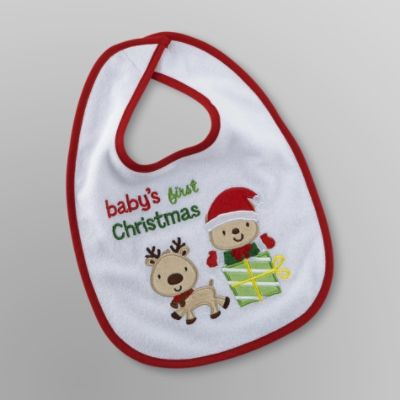 Little Wonders Baby's First Christmas Bib - Reindeer & Bear