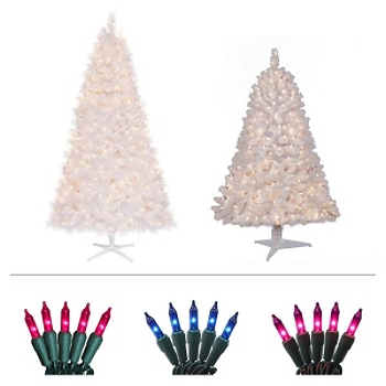 -7ft &4.5ft Pre-Lit White Christmas Tree Bundle