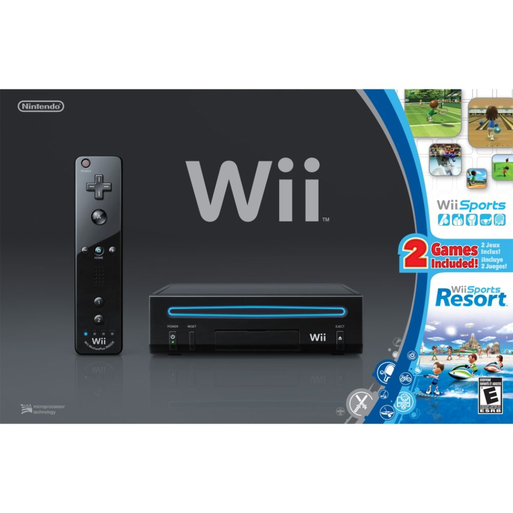 Nintendo Wii Black Bundle w/ Wii Sports Wii Sports Resort