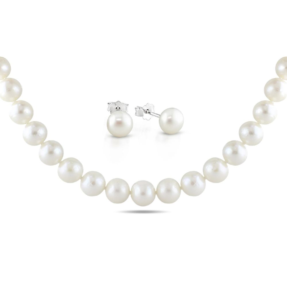 Sterling Silver Set of Freshwater White Pearl Necklace and Stud Earrings (10.5-11mm, 8-9mm)