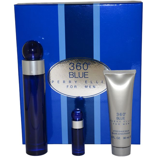 360 Blue by Perry Ellis for Men - 3 Pc Gift Set 3.4oz EDT Spray, 3oz After Shave Balm, 0.25oz EDT Spray