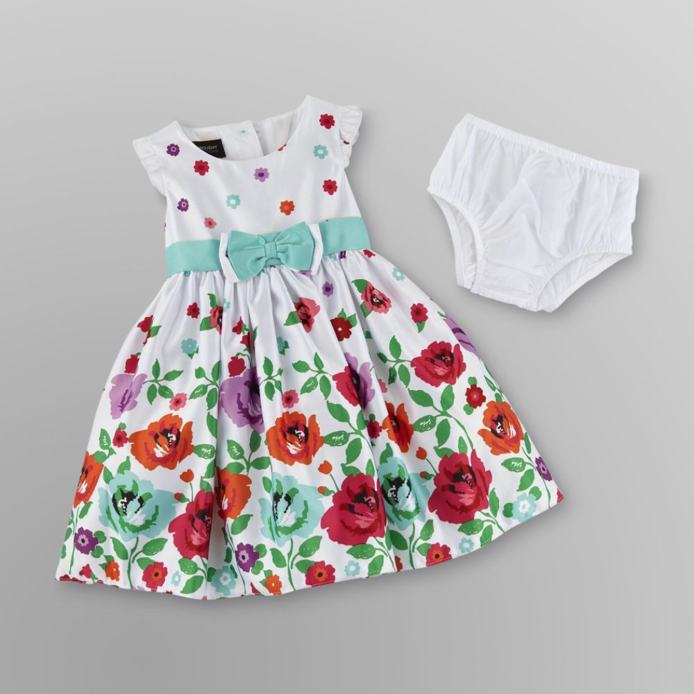 Holiday Editions Infant & Toddler Girl's Party                            Dress & Diaper Cover - Floral