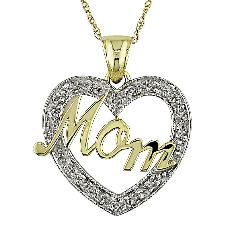 1/8 CT Diamond Heart Pendant With Chain 10k White                                                 Yellow Gold GH I2;I3