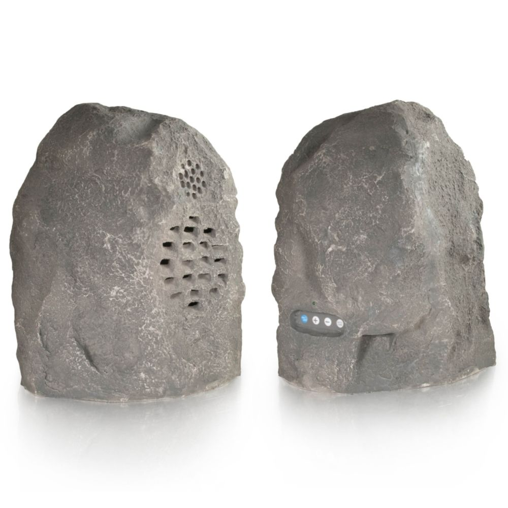 C2G Granite Wireless Rock Speaker Bundle with Dual Power Transmitter -Grey