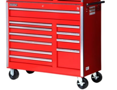 International  42'' 11-Drawer Ball Bearing Slides Roller Cabinet Red