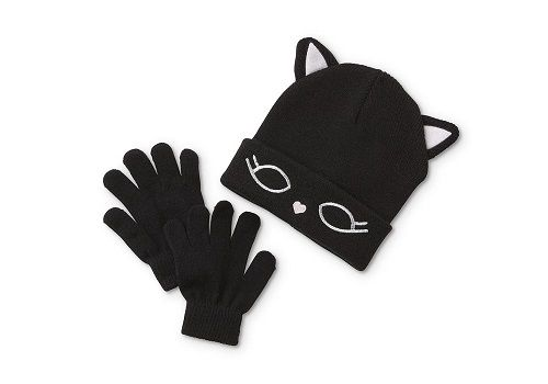 Roebuck & Co. Girls' Cat Beanie Hat & Gloves