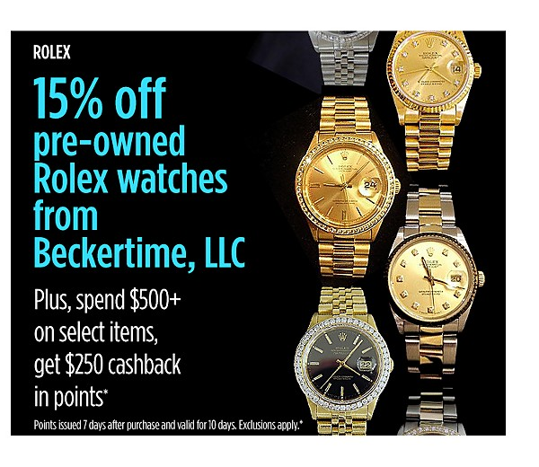 15% off Rolex Watches + spend $500+, get $250 cashback in points