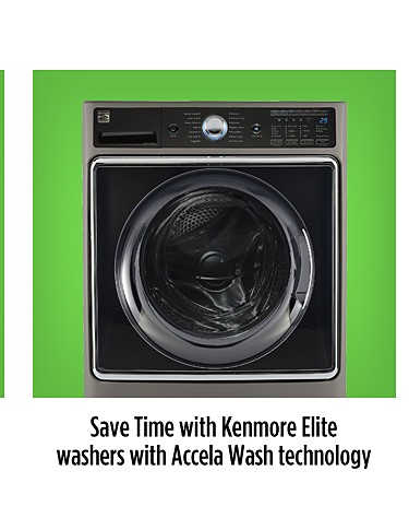 Save Time with Kenmore Elite washers with Accela Wash technology
