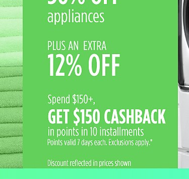 Up to 30% off appliances + an extra 12% off