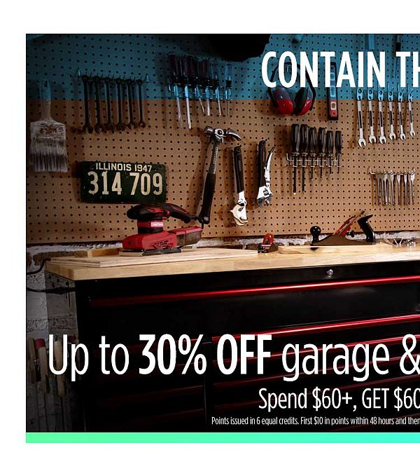 Up to 30% off garage & workshop organization