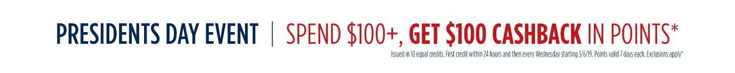 Spend $100+ Get $100 CASHBACK in points