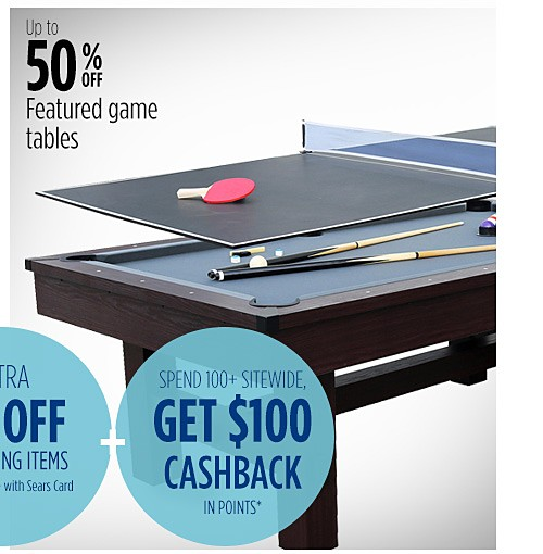 Up to 50% off featured game tables