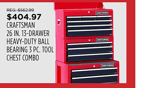 Craftsman 26 In. 13-Drawer 3-PC Tool Chest