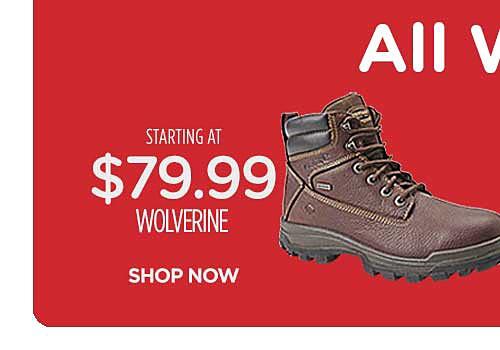 Starting at $79.99 Wolverine work boots