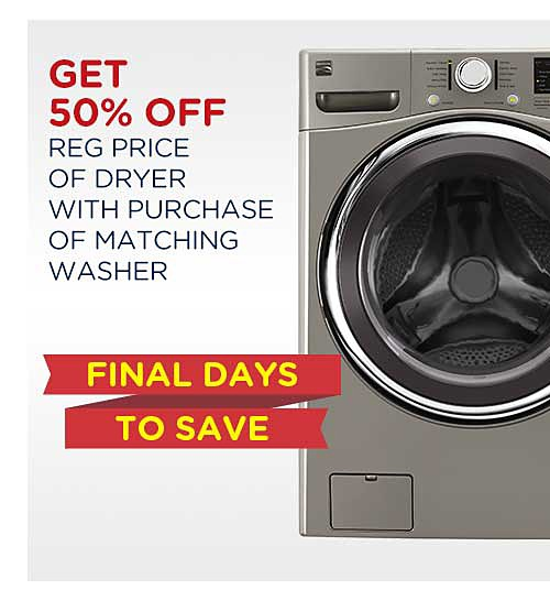 Get 50% off reg price of dryer with purchase of matching washer