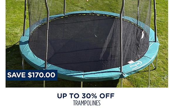 Up to 30% off trampolines