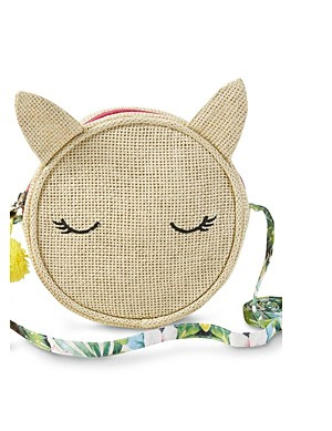 Girls' Round Straw Purse - Tropical/Deer