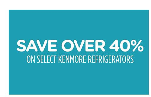 Save over 40% on select Kenmore refrigerators