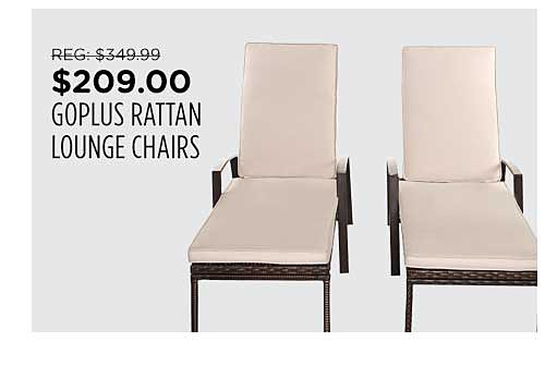 Goplus Set of 2 Patio Rattan Lounge Chairs
