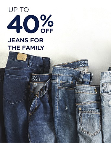 Up to 40% off jeans for the family