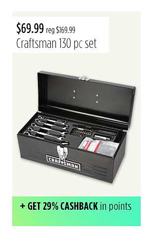 "Craftsman 130pc Mechanics Tool Set With 16"" Metal Hand Box"
