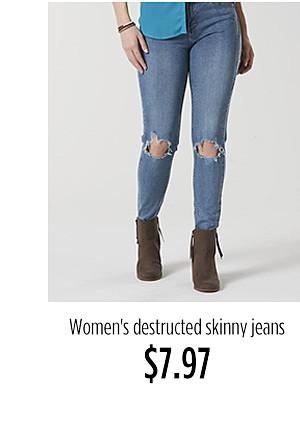 Women's destructed skinny jeans $7.97