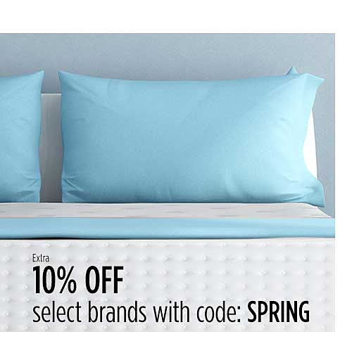 Up to 60% off top brand mattresses + Extra 10% off select brands with code SPRING
