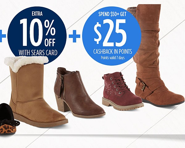Up to 40% off women's shoes + extra 20% off for family & friends + extra 10% off with sears card
