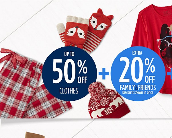 Up to 50% off clothes + extra 20% off for family & friends + extra 10% off with sears card