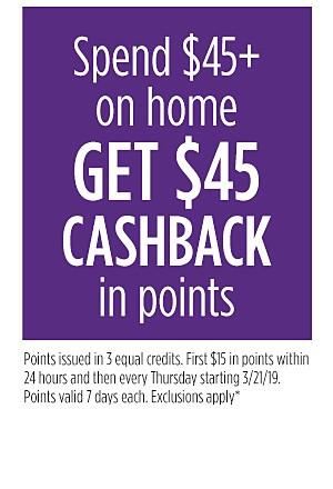 Spend $45+ GET $45 Cashback in points