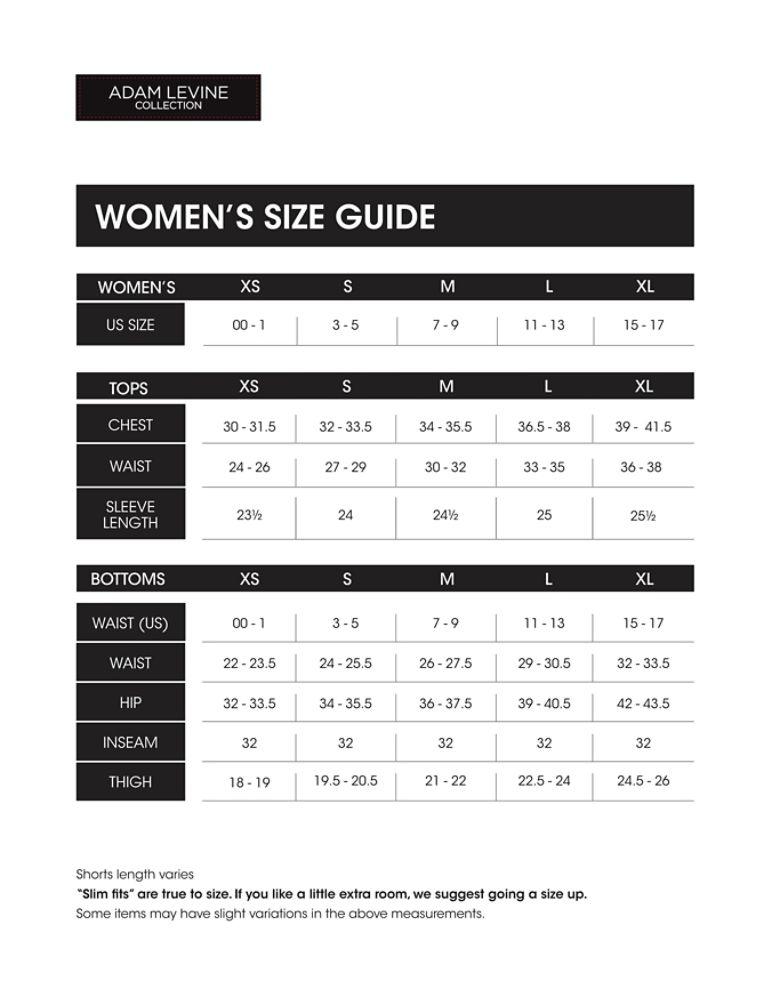 Adam levine women s size guide kmart